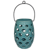 allen + roth 8.07-in Aqua Ceramic Tea Light Outdoor Decorative Lantern