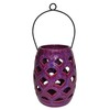allen + roth 8.07-in Purple Ceramic Tea Light Outdoor Decorative Lantern