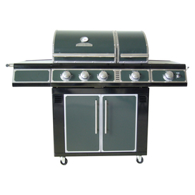Master Forge Green 3-Burner (36,000-BTU) Natural Gas or Liquid Propane Gas Grill with Side Burner