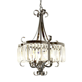 Style Selections 18-in 4-Light Black Chrome Clear Glass Standard Chandelier