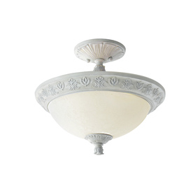 Style Selections 15-in W Antique White Opalescent Glass Semi-Flush Mount Light