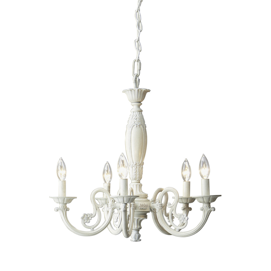 Shop Style Selections 5 Light Antique White Chandelier At