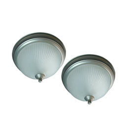 Project Source 2-Pack 11-in W Brushed Nickel Ceiling Flush Mount