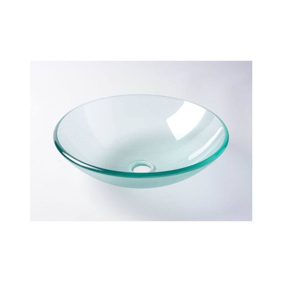 Shop Aquasource Frosted Tempered Glass Vessel Round Bathroom Sink At