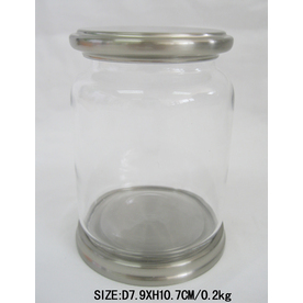 allen + roth Glass Canister with Brushed Nickel Iron Cover and Base