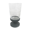 allen + roth 10-in H Graphite Metal Pillar Candle Outdoor Decorative Lantern