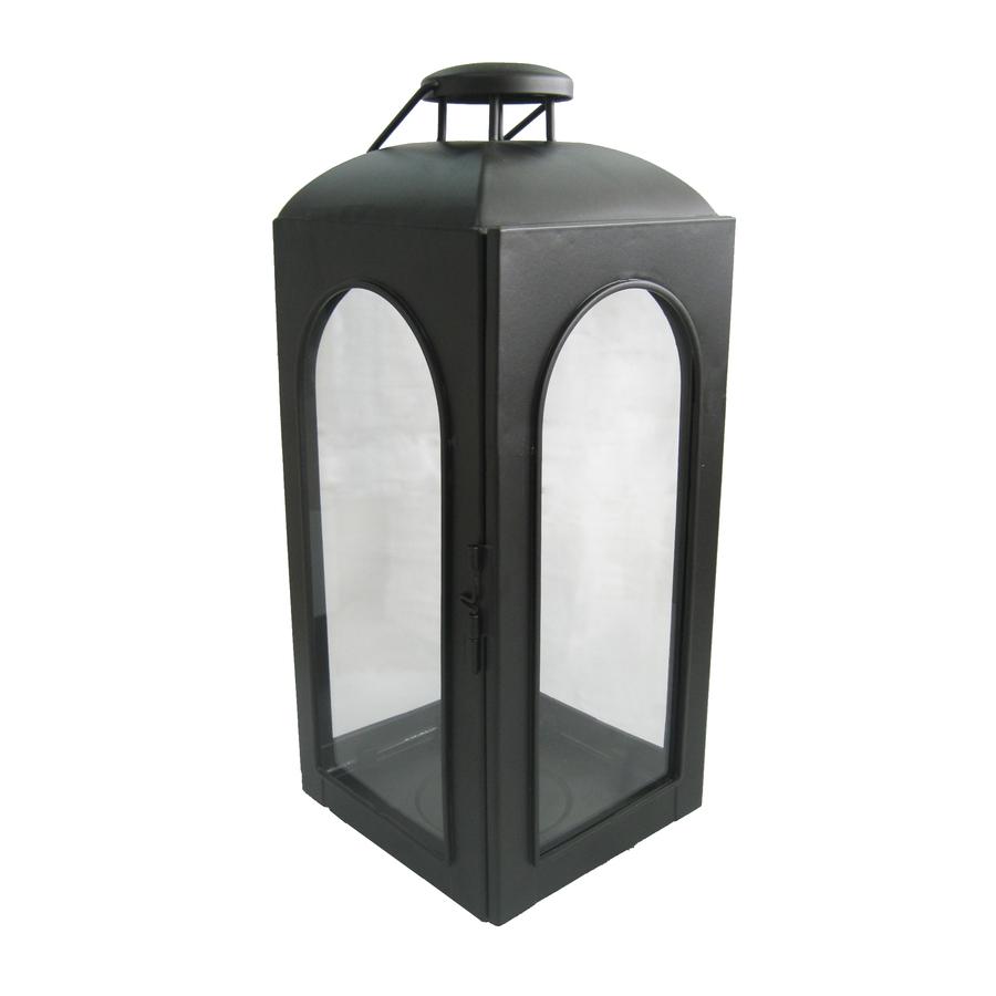 Shop allen roth h black metal pillar candle for Unique outdoor lanterns