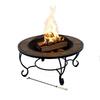 Garden Treasures 35-in Black Steel Wood-Burning Fire Pit