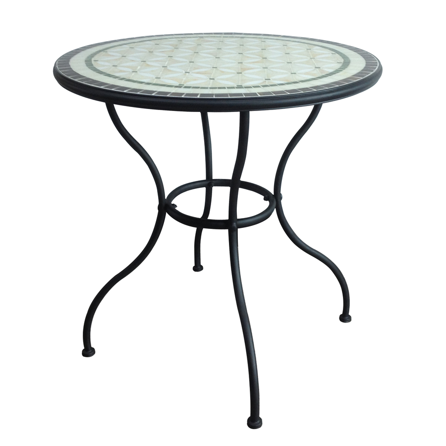 12 Circular Patio Furniture In Garden Treasures Pelham Bay Tile Top Black Round Patio Bistro Table