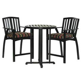 Garden Treasures 3-Piece Amesbury Aluminum Striped Patio Bistro Set