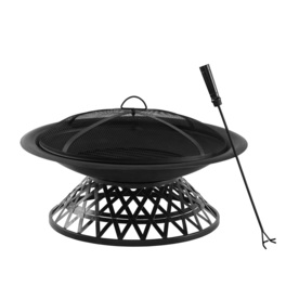 Garden Treasures 30-in Matt Black Steel Wood-Burning Fire Pit