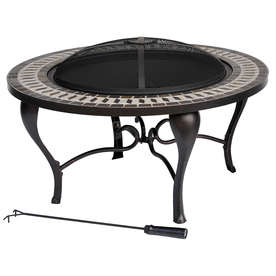 allen + roth 35-in Black Steel Wood-Burning Fire Pit