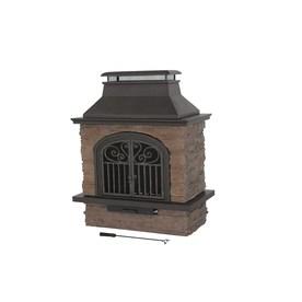 Shop Garden Treasures Antique Bronze Stone Outdoor Wood Burning Fireplace At
