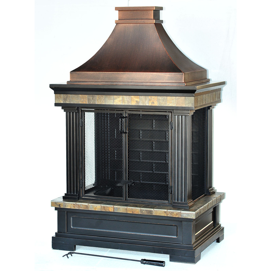 Shop Garden Treasures Bronze Steel Outdoor Wood Burning Fireplace At