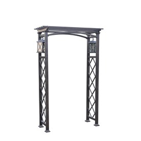 Garden Treasures 52.76-in W x 79.9-in H Brown Vaulted Top Garden Arbor