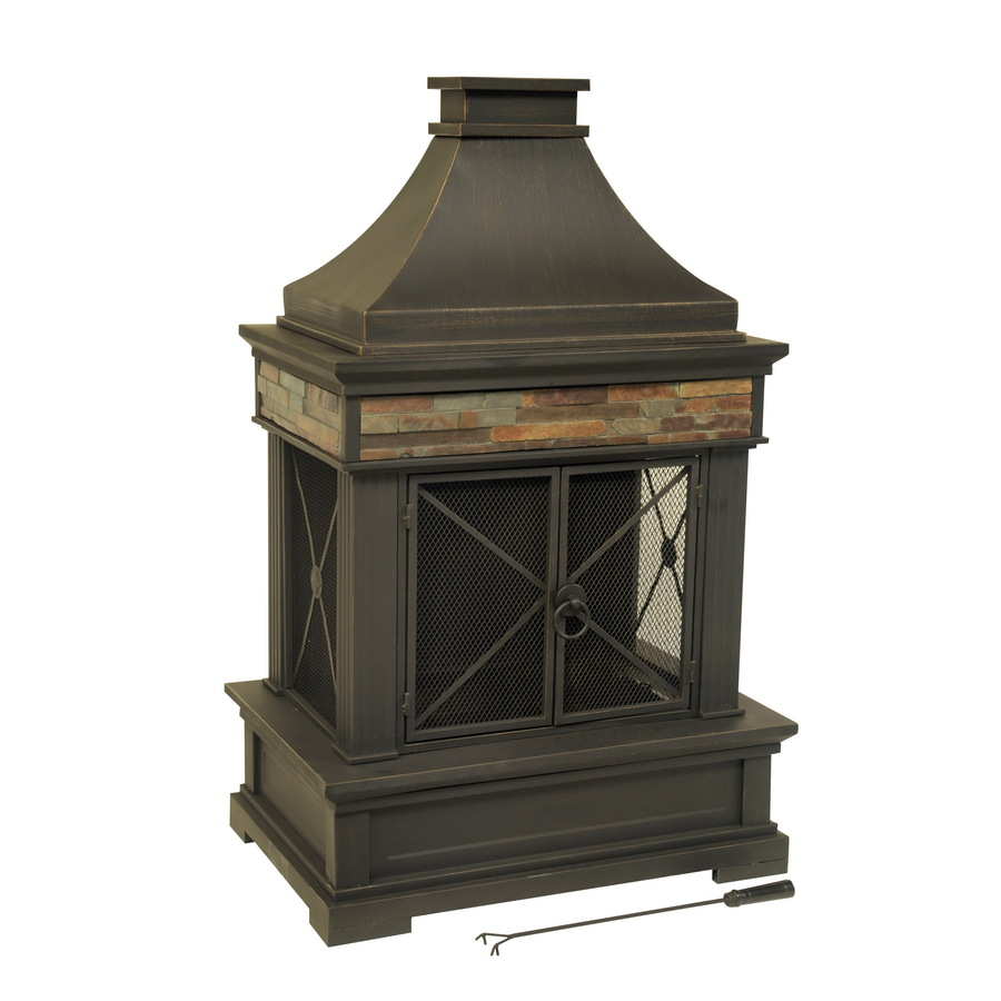Shop Allen Ro Brown Steel Outdoor Wood Burning Fireplace At Lowes