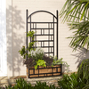 Garden Treasures 28.34-in W x 55.9-in H Matte Black Planter Box Garden Trellis