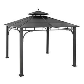 allen + roth 10-ft 1-1/4-in x 10-ft 1-1/4-in x 10-1/4-ft Black Steel Gazebo