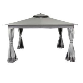allen + roth 10-ft x 12-ft x 9.51-ft Polyester Roof Black Steel Rectangle Gazebo