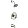 AquaSource Brushed Nickel 1-Handle Tub and Shower Faucet with Multi-Function Showerhead
