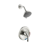 AquaSource Brushed Nickel 1-Handle Shower Faucet with Multi-Function Showerhead