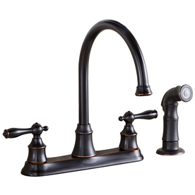 AquaSource Oil-Rubbed Bronze High-Arc Kitchen Faucet with Side Spray