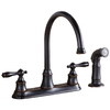 AquaSource Oil-Rubbed Bronze 2-Handle High-Arc Kitchen Faucet with Side Spray