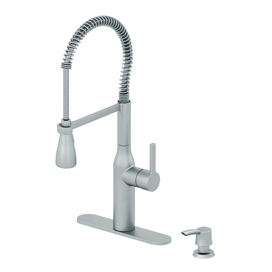 Shop Aquasource Stainless Steel Pull Down Kitchen Faucet At