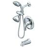 AquaSource Polished Chrome 1-Handle Bathtub and Shower Faucet with Multi-Head Showerhead