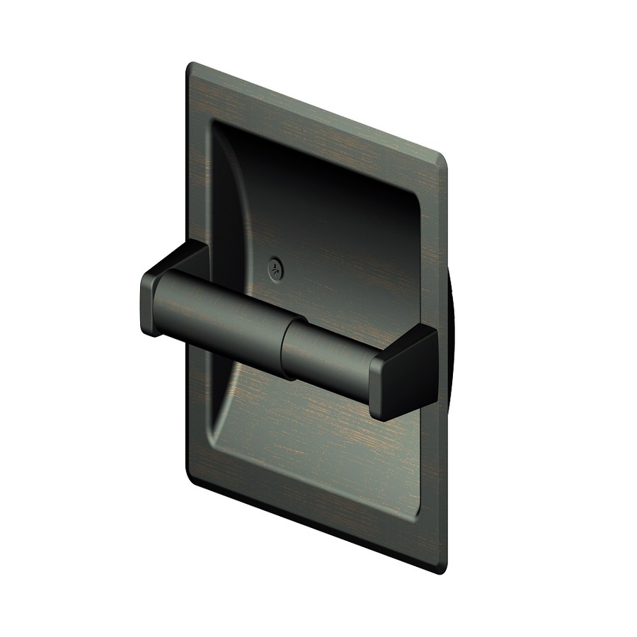 Shop style selections seton oil rubbed bronze recessed toilet paper holder at - Recessed toilet paper dispenser ...