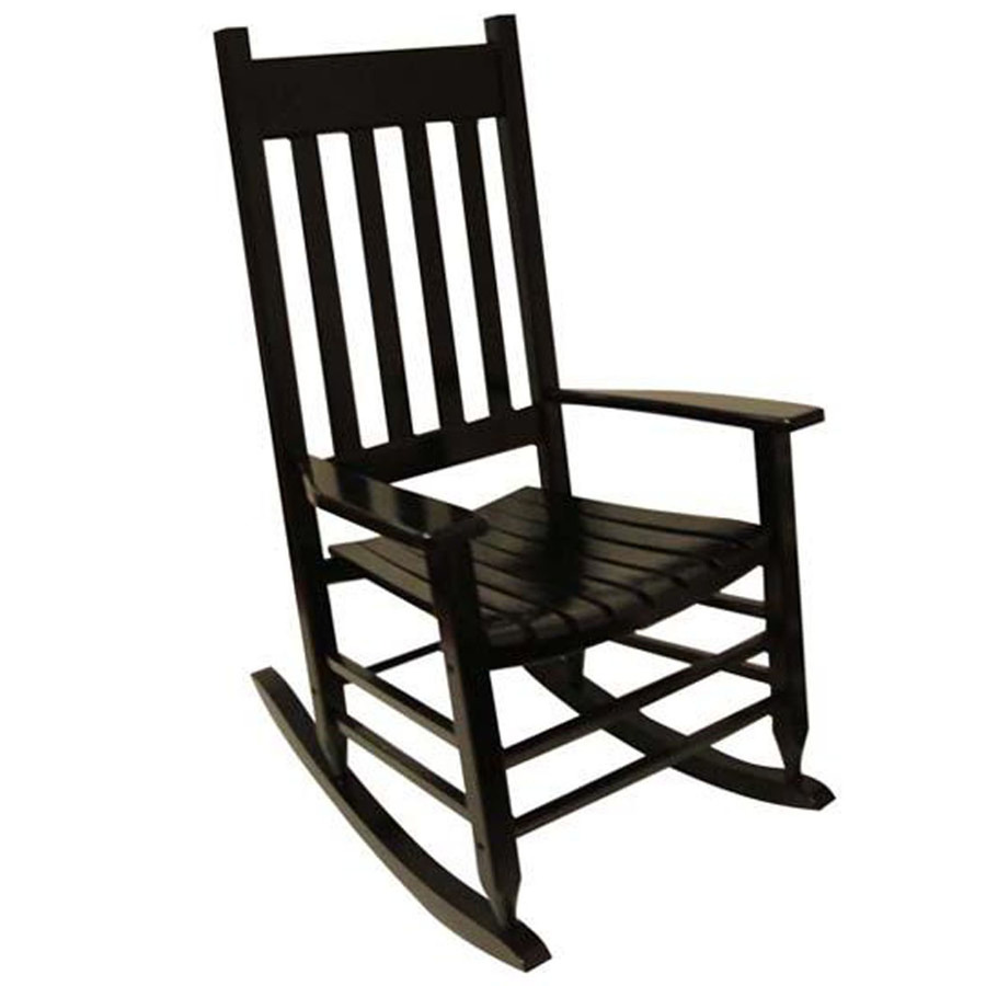 Shop garden treasures one painted black wood slat seat for Outside porch chairs