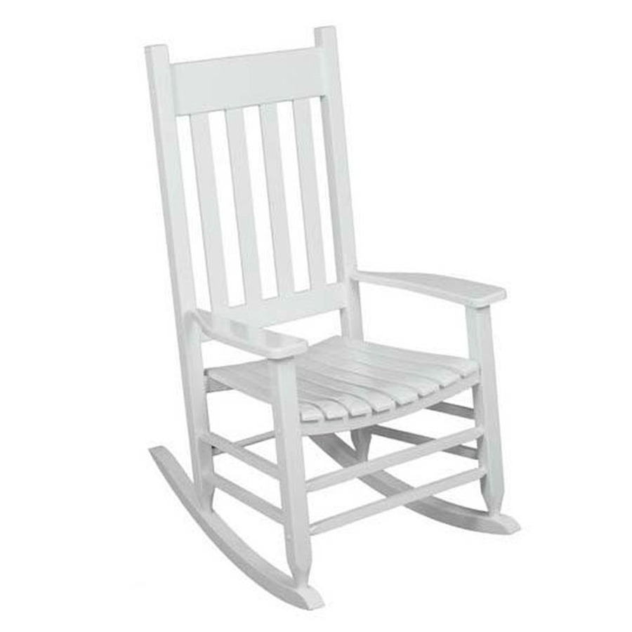 ... Painted White Wood Slat Seat Outdoor Rocking Chair at Lowes.com