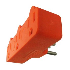 Project Source 15-Amp 3-Wire Grounding Single-to-Triple Orange Adapter