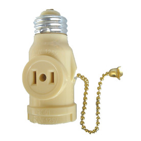 Project Source 660-Watt Ivory Medium Light Socket Adapter with Pull Chain
