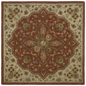 Kaleen Tara2-ft Square Red Floral Tufted Wool Area Rug (Common: 8-ft x 8-ft; Actual: 7.75-ft x 7.75-ft)
