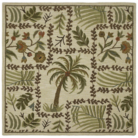 Kaleen Tara2-ft Square Cream Floral Tufted Wool Area Rug (Common: 4-ft x 4-ft; Actual: 3.75-ft x 3.75-ft)