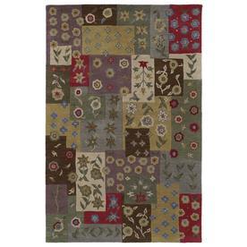 Kaleen Khazana Rectangular Green Floral Tufted Wool Area Rug (Common: 5-ft x 8-ft; Actual: 5-ft x 7.75-ft)