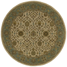 Kaleen Tara Round Cream Floral Tufted Wool Area Rug (Common: 4-ft x 4-ft; Actual: 3.75-ft x 3.75-ft)