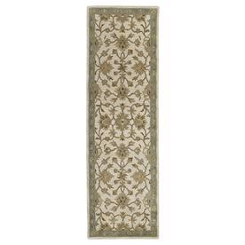 Kaleen Khazana Rectangular Cream Floral Tufted Wool Area Rug (Common: 2-ft x 8-ft; Actual: 2.25-ft x 7.5-ft)