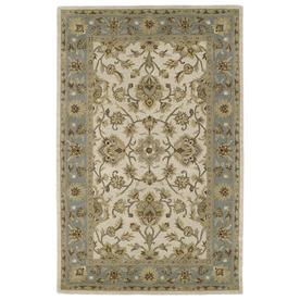 Kaleen Khazana Rectangular Cream Floral Tufted Wool Area Rug (Common: 8-ft x 10-ft; Actual: 7.5-ft x 9-ft)