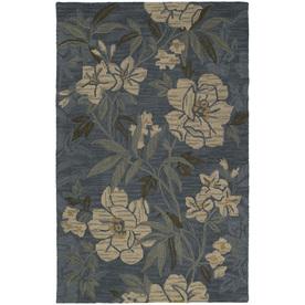 Kaleen Khazana Rectangular Blue Floral Tufted Wool Area Rug (Common: 5-ft x 8-ft; Actual: 5-ft x 7.75-ft)