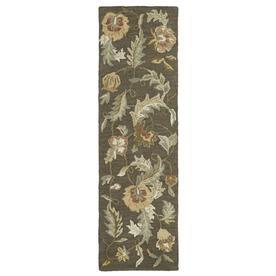 Kaleen Khazana Rectangular Black Floral Tufted Wool Area Rug (Common: 2-ft x 8-ft; Actual: 2.25-ft x 7.5-ft)