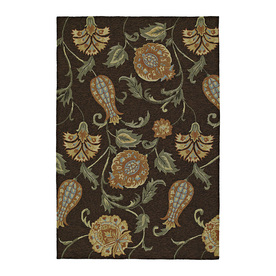 Kaleen Home and Porch 9-ft x 7-ft 6-in Rectangular Black Floral Indoor/Outdoor Area Rug