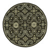 Kaleen Round Black Floral Indoor/Outdoor Tufted Area Rug (Common: 6-ft x 6-ft; Actual: 5.75-ft x 5.75-ft)