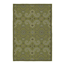 Kaleen Home and Porch Rectangular Green Floral Tufted Accent Rug (Common: 2-ft x 3-ft; Actual: 36-in x 24-in)