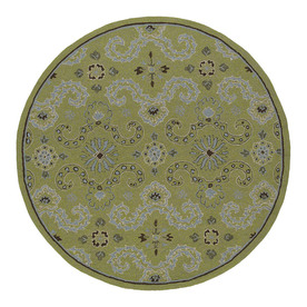 Kaleen Round Green Floral Indoor/Outdoor Tufted Area Rug (Common: 8-ft x 8-ft; Actual: 7.75-ft x 7.75-ft)