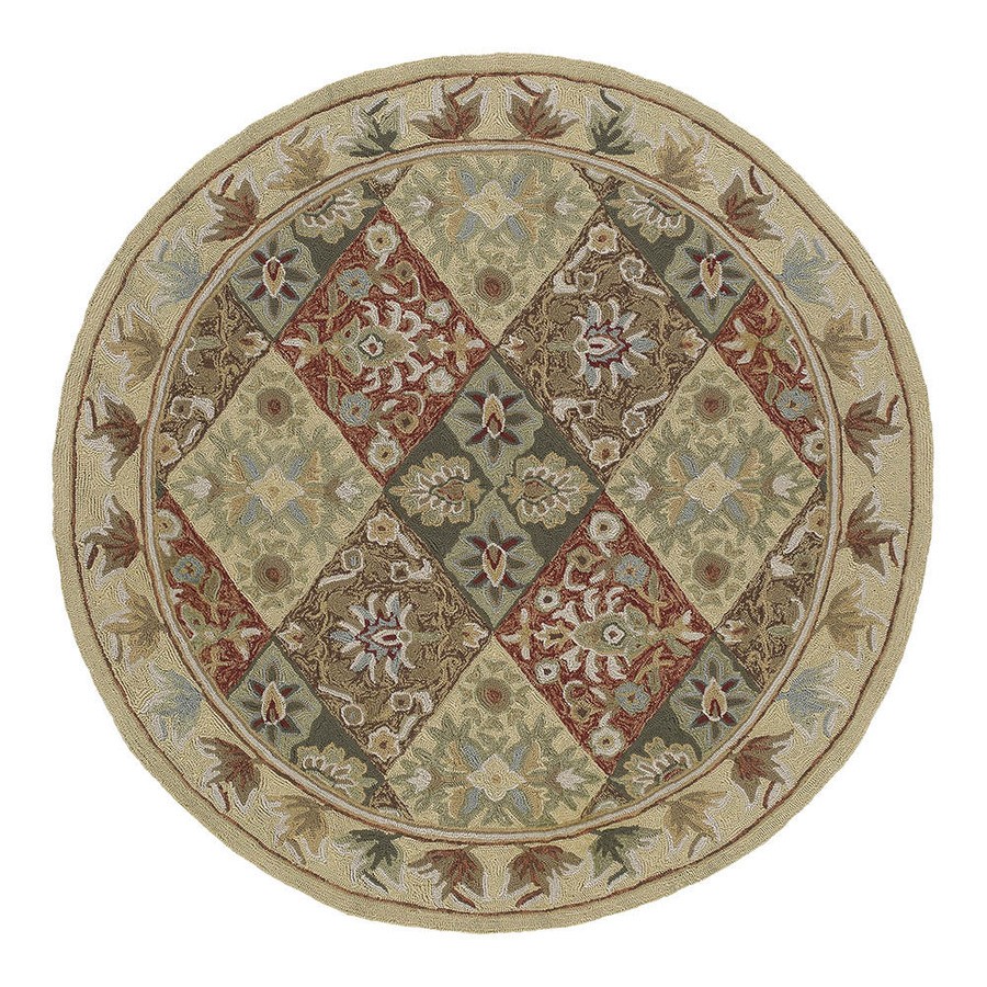 Shop Kaleen Round Cream Floral Indoor Outdoor Tufted Area Rug Common 8 Ft X