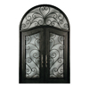 Escon 1-Panel Insulating Core Full Lite Left-Hand Inswing Bronze Iron Painted Prehung Entry Door (Common: 76-in x 120-in; Actual: 76-in x 120-in)
