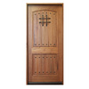 Escon Rustica 2-Panel Solid Hardwood Left-Hand Inswing Stained Medium Spanish Walnut with Satin Prehung Entry Door (Common: 36-in x 80-in; Actual: 37.5-in x 81.5-in)