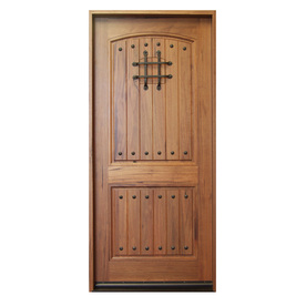 Shop Escon Rustica 2 Panel Solid Hardwood Right Hand Inswing Stained Medium Spanish Walnut With